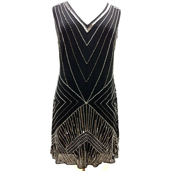 1920'S Style Gatsby Tunic Top Evening Embellish Shift Dress Vintage... ($50) ❤ liked on Polyvore featuring dresses, black, women's clothing, beaded cocktail dress, sheer cocktail dress, vintage beaded cocktail dress, embellished cocktail dress and vintage style flapper dresses