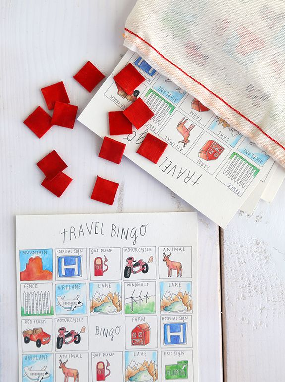 Travel Bingo printable game...The focus is on simple + small games to bring along in the car so your kid isn't watching movies the whole drive. This week I'm sharing this cute printable travel bingo game.
