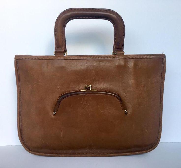 Coach Vintage 1960's Brown Leather NYC Watermelon Satchel Bag USA Kisslock Bag #Coach #Briefcase