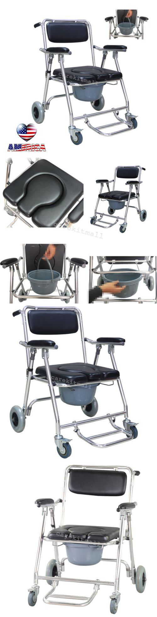Portable commode folding bedside handicap adult toilet potty chair - Toilet Frames And Commodes Aluminum Commode Wheelchair Shower Bathroom Detachable Swing Cushioned Armrests