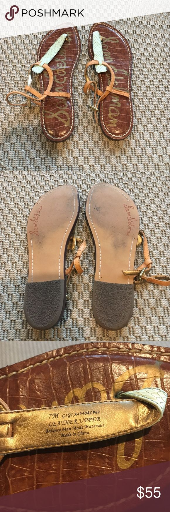 SAM EDELMAN Gigi leather sandals Cute mint green and tan Sam Edelman Gigi sandals. Size 7, true to size and worn only once! Sam Edelman Shoes Sandals