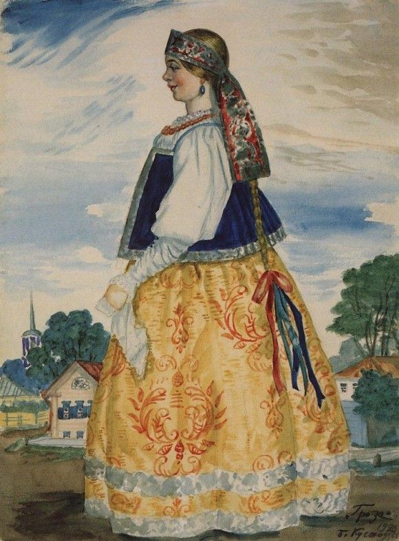 """Russian costume in painting. Boris Kustodiev. Varvara. A sketch of the stage costume to the play """"The Thunderstorm"""" by Alexander Ostrovsky. 1920. #art #painting #Russian #costume"""