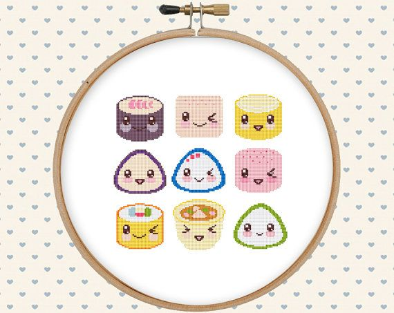 Food cross stitch  kawaii cross stitch pattern  by GentleFeather