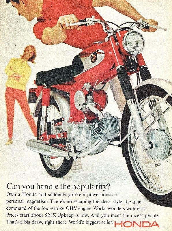 "1965 Honda Sport Motorcycle Ad ""Popularity"""
