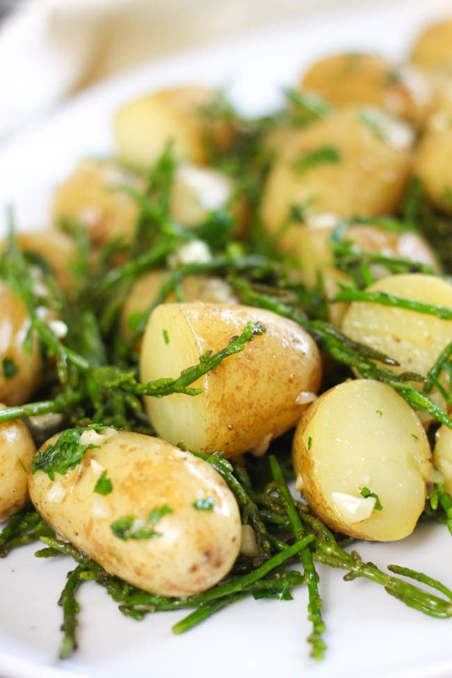 Hot and buttery samphire potato salad - salty, buttery, garlicky... the perfect…