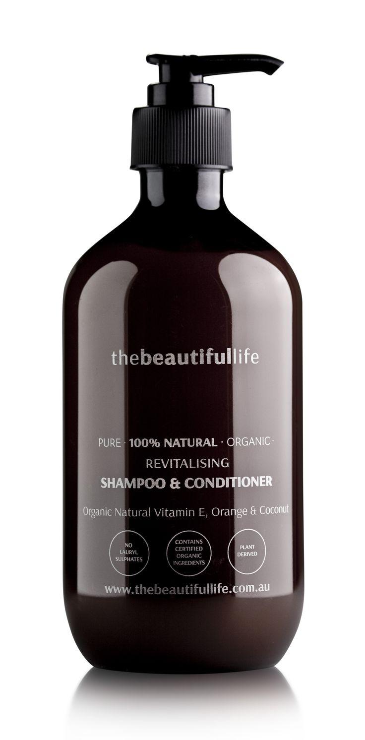 Revitallising Shampoo & Conditioner with Organic Natural Vitamin E, Orange & Coconut