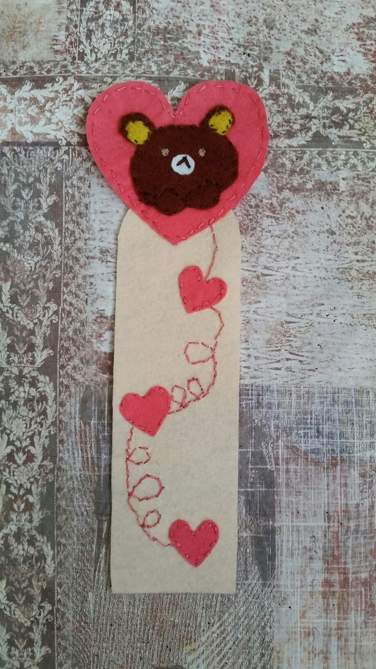 lovely felt teddy bookmark  #kitapayraç #ayıcık