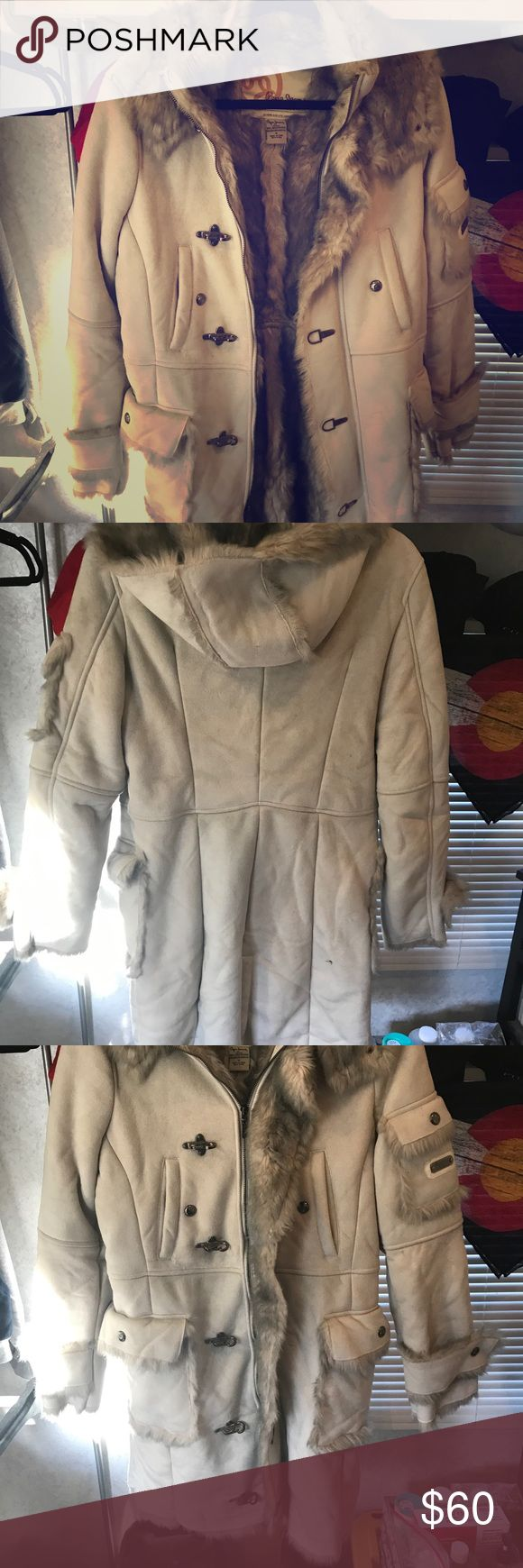 Beautiful winter coat Medium long length  Heavy warm Faux fur Removable hood  I can live in this coat... but I must downsize Pepe Jeans Jackets & Coats Pea Coats