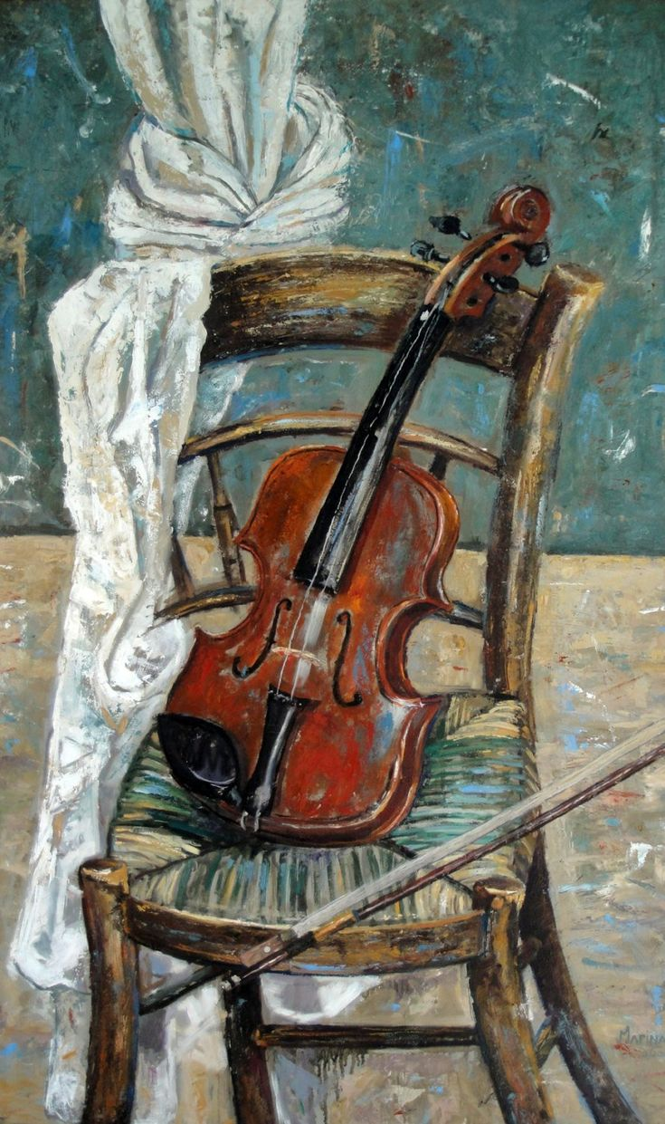 Still Life Original Oil Painting 'Violin on Chair'. Oil on board 60 x 100. Fine Art. Art. Art and Collectibles. Violin