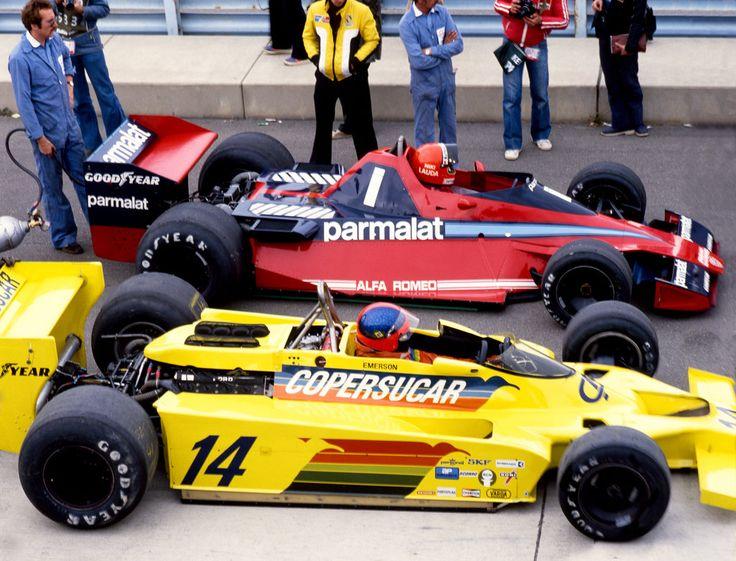 """Niki"" Lauda (Parmalat Racing Team), Brabham BT46 - Alfa Romeo flat-12 and  Emerson Fittipaldi(Fittipaldi Automotive), Fittipaldi F5A - Ford V8,1978"