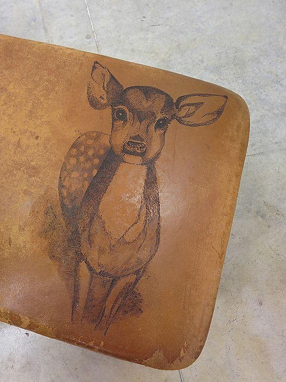 Vintage salontafel 'Gymnastic' springkast turnkast bijzetbank industrieel tattoo Bambi