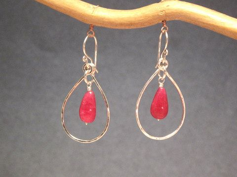 Aphrodite 64 Hammered drop hoops with ruby by CalicoJunoJewelry