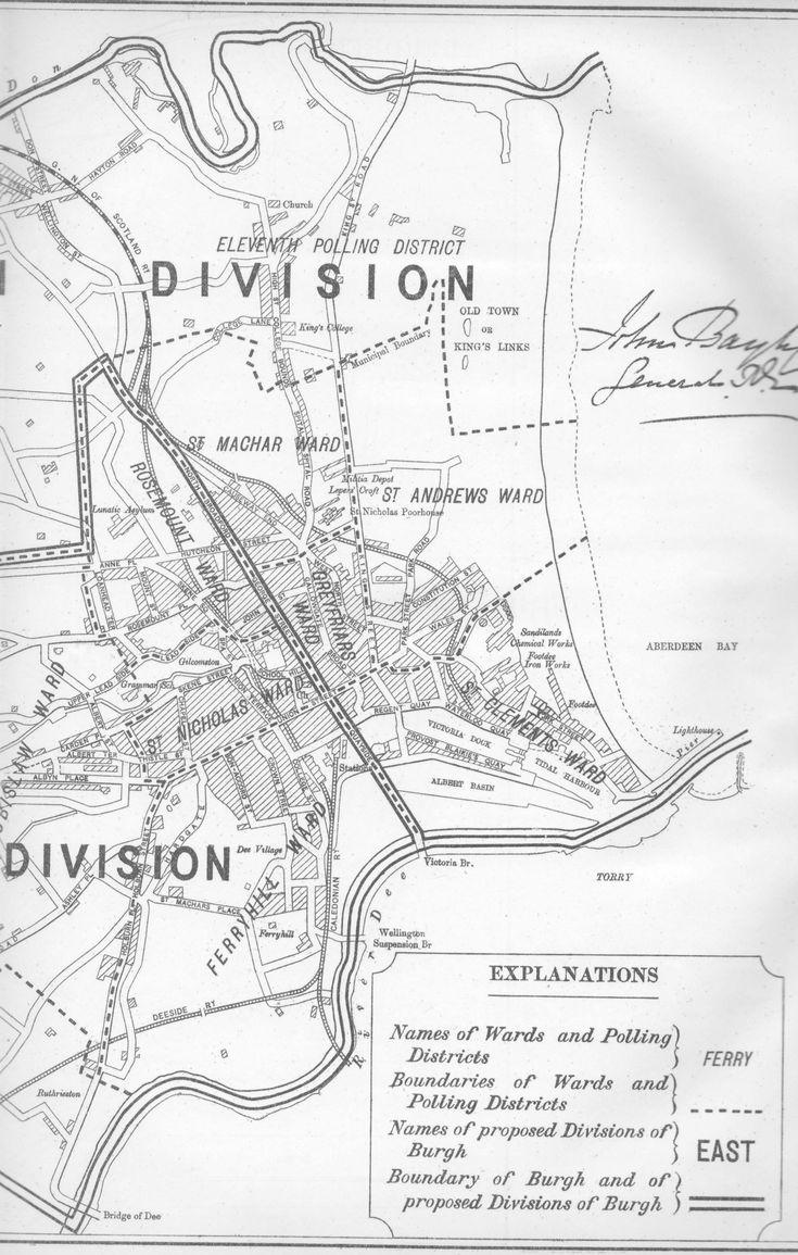 Map, Aberdeen, Burgh of, Scotland, 1885
