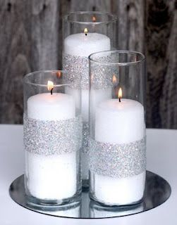 Cailen how cute with one orange , one green , one brown candle or even white with colored sparkles ?