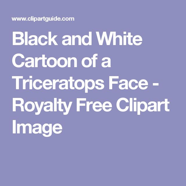 Black and White Cartoon of a Triceratops Face - Royalty Free Clipart Image