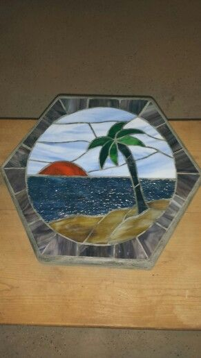 The Beach - Stained Glass Stepping Stone