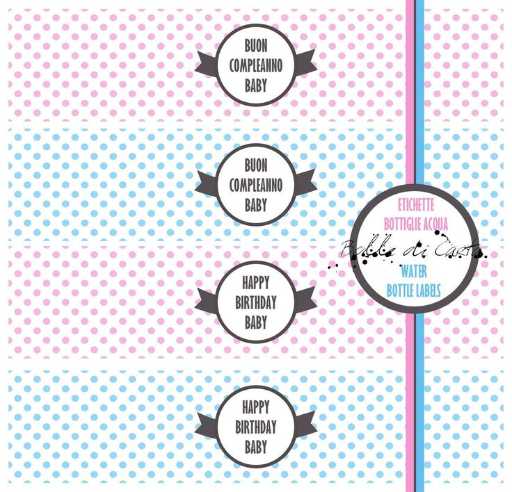 Etichette Bottiglie Acqua personalizzabili per Compleanno-Nome-Testa-Buon Compleanno-Festa-Bambino-Bambina-Party-Pois di BolleDiCarta su Etsy