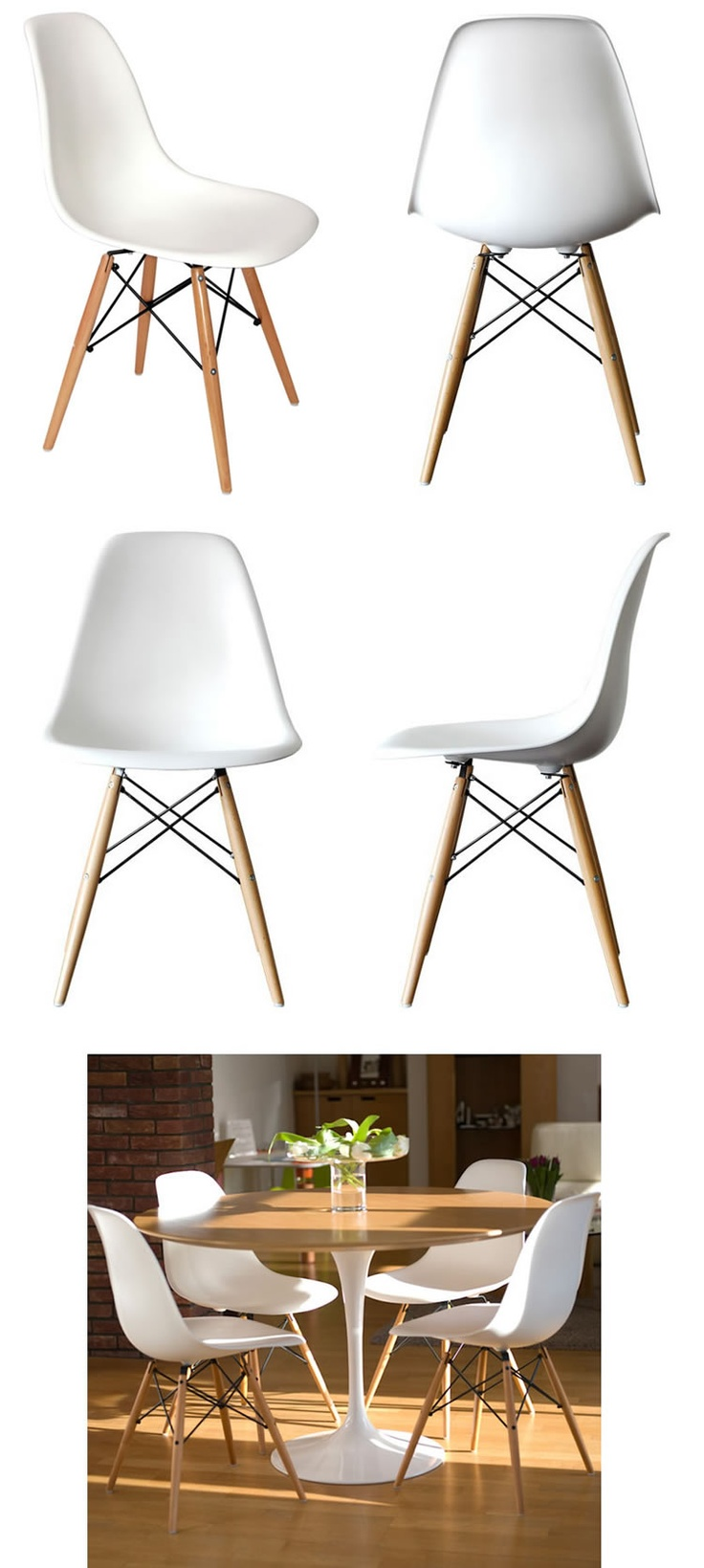 Eames DSW White Plastic Chair - Wooden Legs. For dining room.