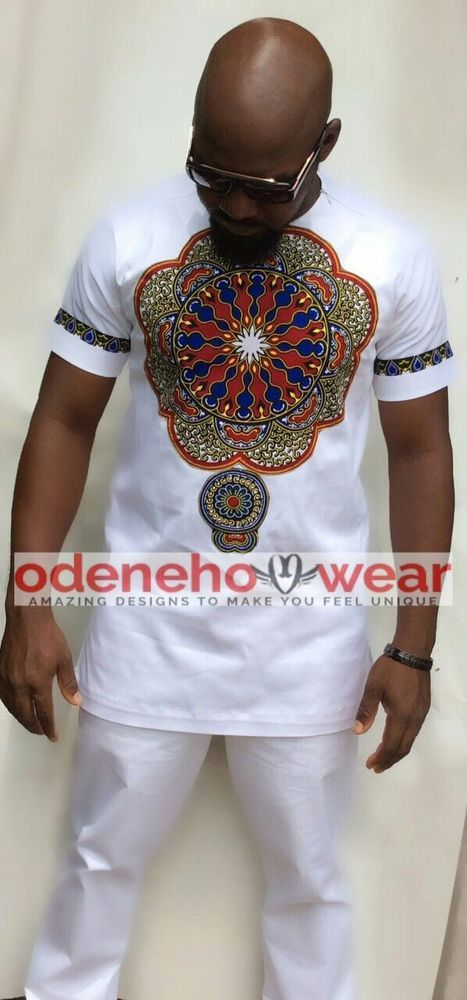 Odeneho Wear Men's White Polished Cotton Top Only With Dashiki.African Clothing  #OdenehoWear #Dashiki