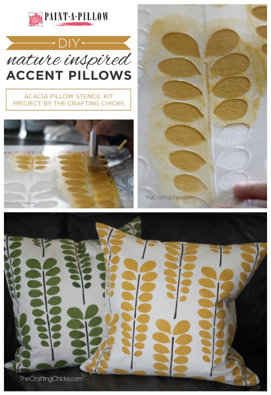 Paint-A-Pillow shares DIY stenciled accent pillows using nature inspired stencil designs like the Acacia. http://paintapillow.com/index.php/paint-a-pillow-kits/nature-inspired-diy-accent-pillows.html #custom #pillow #stenciling