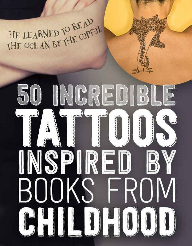 50 Incredible Tattoos Inspired By Books From Childhood, I want to get #20 from Lord of the a Rings =)