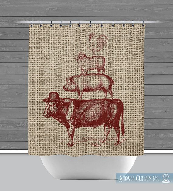 Farmhouse Shower Curtain: Rustic Farm Animals Red Americana | Made in the USA | 12 Hole Fabric Bathroom Decor