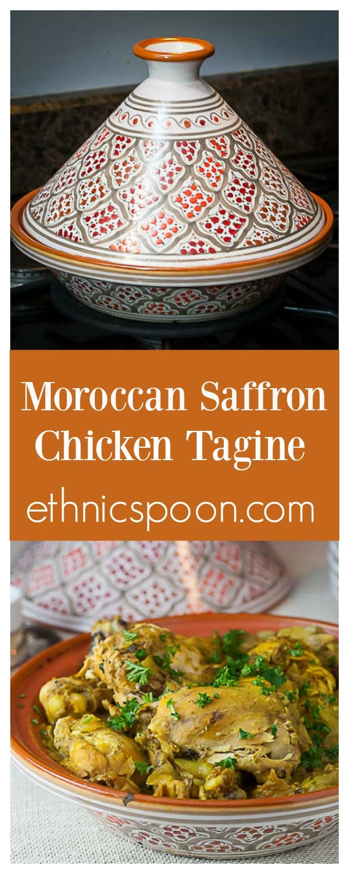 Morocccan saffron chicken is a really exotic yet easy one pot meal that can be made in a tagine or slow cooker. | ethnicspoon.com