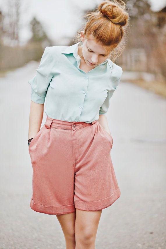 Vintage Shorts  / Pink Shorts / Pastel Shorts / by Springjuste, $37.00