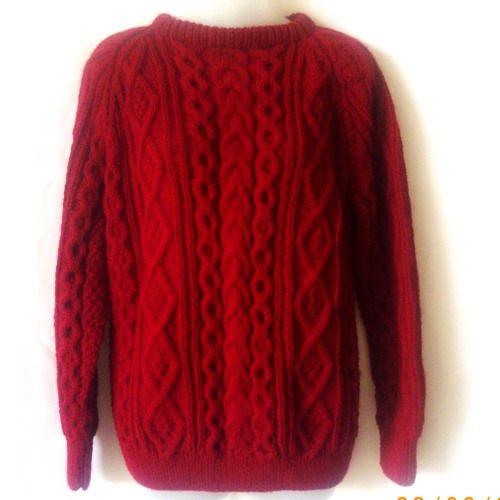 Red handknit aran sweater for men or women