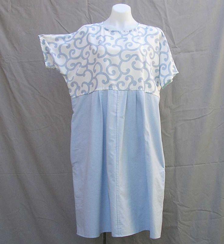 Blue and white dress, Plus size Dress, blue dress, empire line dress, upcycled dress, size 1x 2x dress au 18 UK 16 US 14, eco friendly dress by Rethreading on Etsy