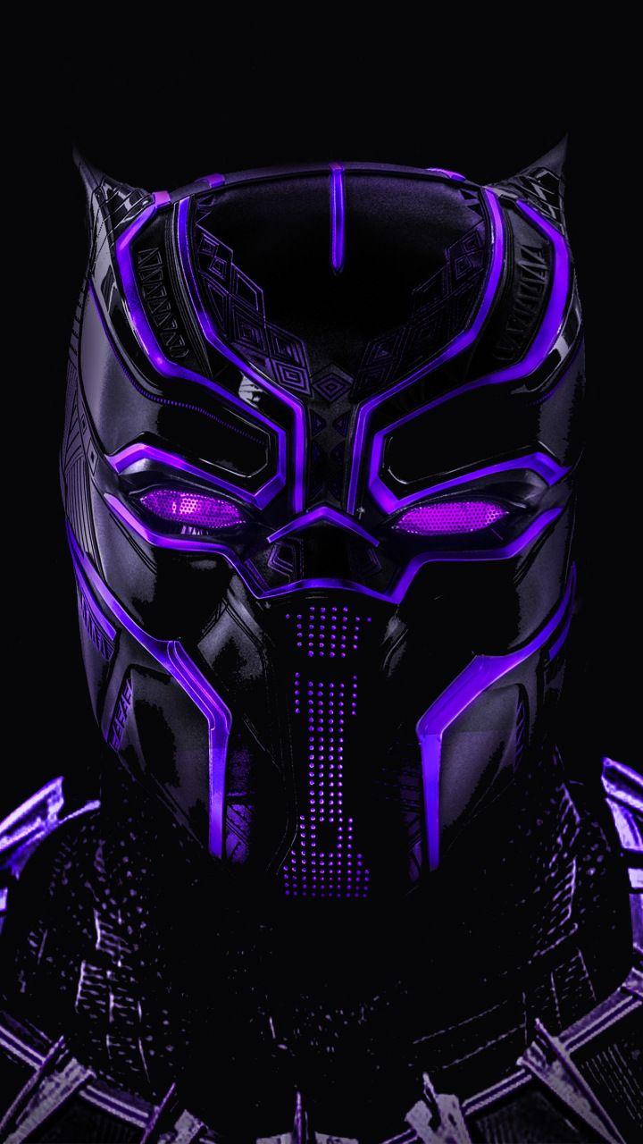 Black Panther Superhero Dark Glowing Mask 720x1280 Wallpaper