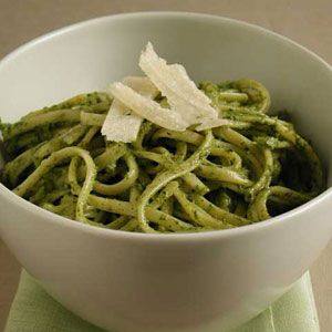 Pasta with Basil, Arugula, and Walnut Pesto | MyRecipes.com ~ Great recipe! Very fun to make with homegrown greens & herbs :) We added a bit of lemon juice to balance out the extra peppery taste of our arugula because it's late in bloom - which worked great!