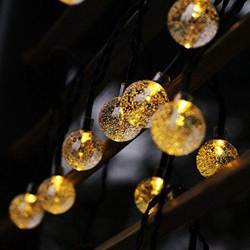 Beautiful marsboy LED Solar Lichterkette Modus Kristallkugeln Stunden Au enbereich Wasserdicht Warmwei M Streifen f r