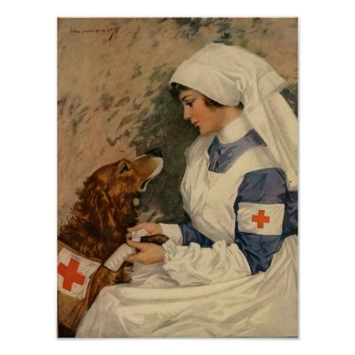 War Nurse with Golden Retriever