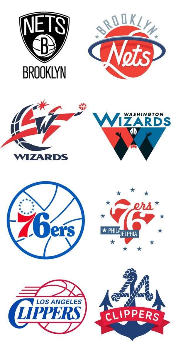 few examples of NBA logo redesigns created by graphic designer, Michael Weinstein. The logos on the left are the current team logos while the logos on the right are Weinstein's interpretations