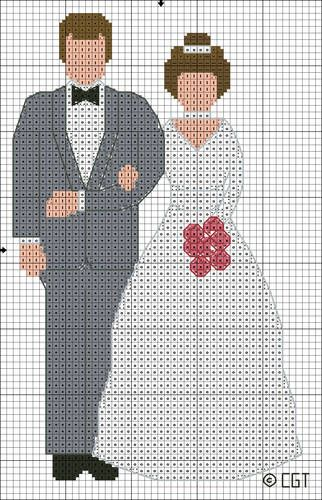 Free Bride and Groom Color Symbol Cross Stitch Pattern