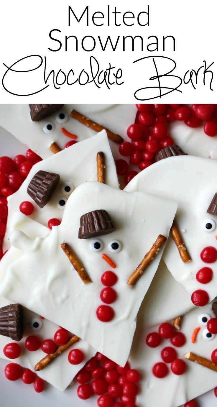 Melted snowman chocolate bark - a super easy holiday dessert. A great option for�