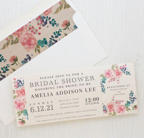 It's a floral bridal brunch! Floral Invites With Darling Envelope Liners