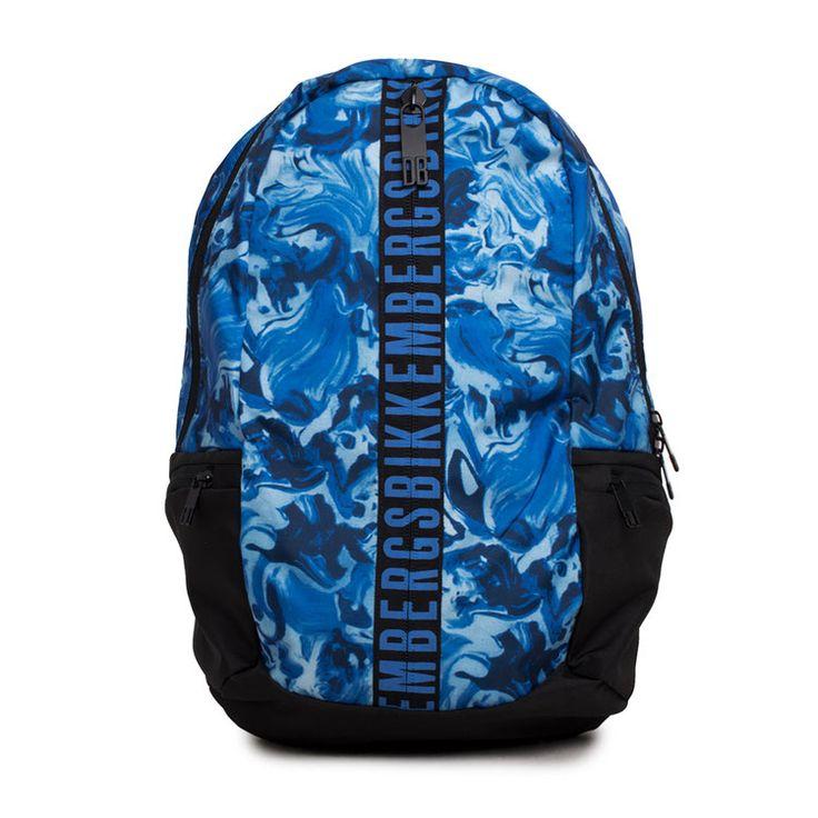 BIKKEMBERGS Zaino Uomo con Scomparto Interno con Tasche con Logo Fantasia Blu e Nero |7ADD6801A6701|