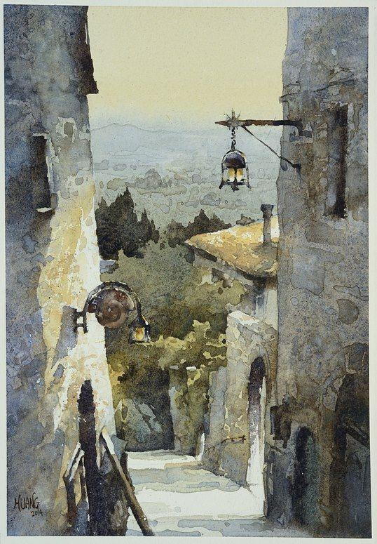 Quaint Town in Assisi, watercolor by Huang Hsiao-Hui