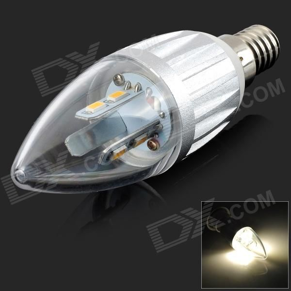 Color: Silver; Color BIN: Warm White; Material: Aluminum alloy; Quantity: 1 Piece; Power: 4W; Rated Voltage: AC 85-265 V; Connector Type: E14; Chip Brand: Others,Samsung; Emitter Type: Others,SMD 5630 LED; Total Emitters: 6; Theoretical Lumens: 180 lumens; Actual Lumens: 180 lumens; Color Temperature: 3000K; Dimmable: no; Other Features: Non-toxic and energy saving; Excellent cooling performance; Lifespan up to 50,000 hours; Packing List: 1 x LED lamp; http://j.mp/1uNZUfS