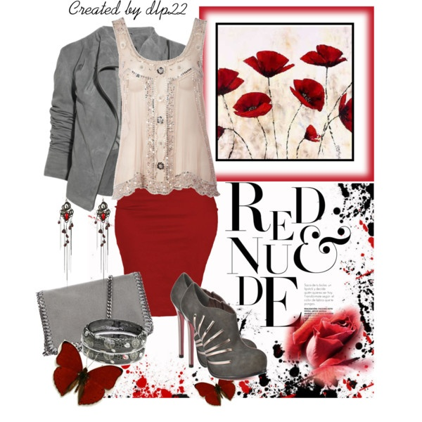 """Red & Nude (& Gunmetal)"" by dlp22 on PolyvoreGunmetal, Red Amp, Polyvore, Nude Amp, Fashion Styl, Dlp22"