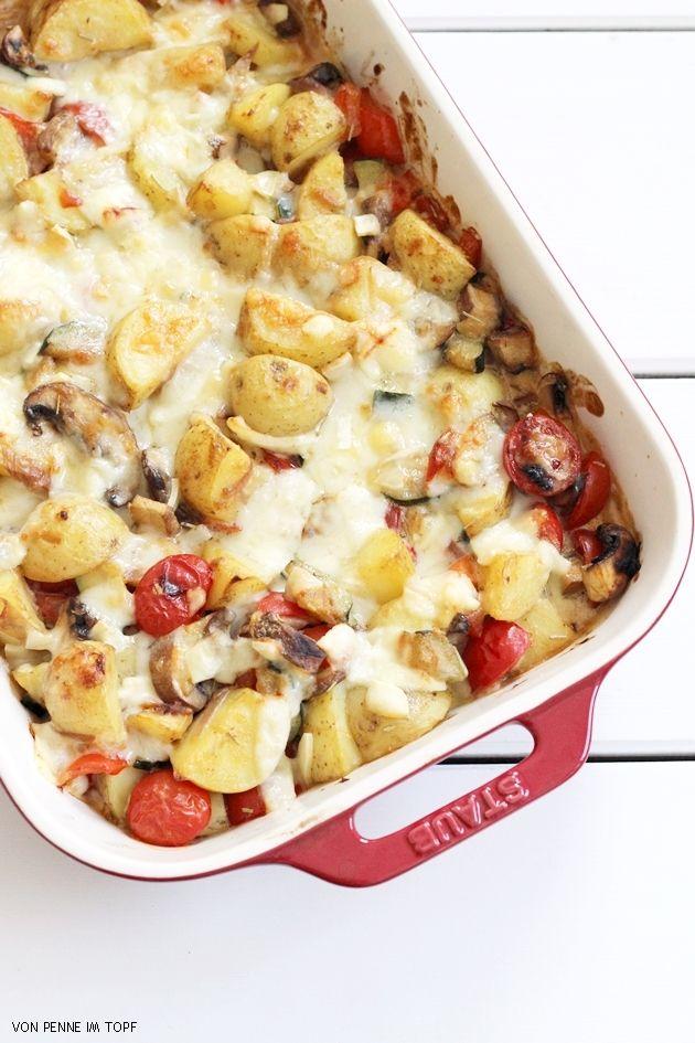 Penne im Topf: Kartoffel - Gemüse - Auflauf mit Dijon - Senf - Sauce