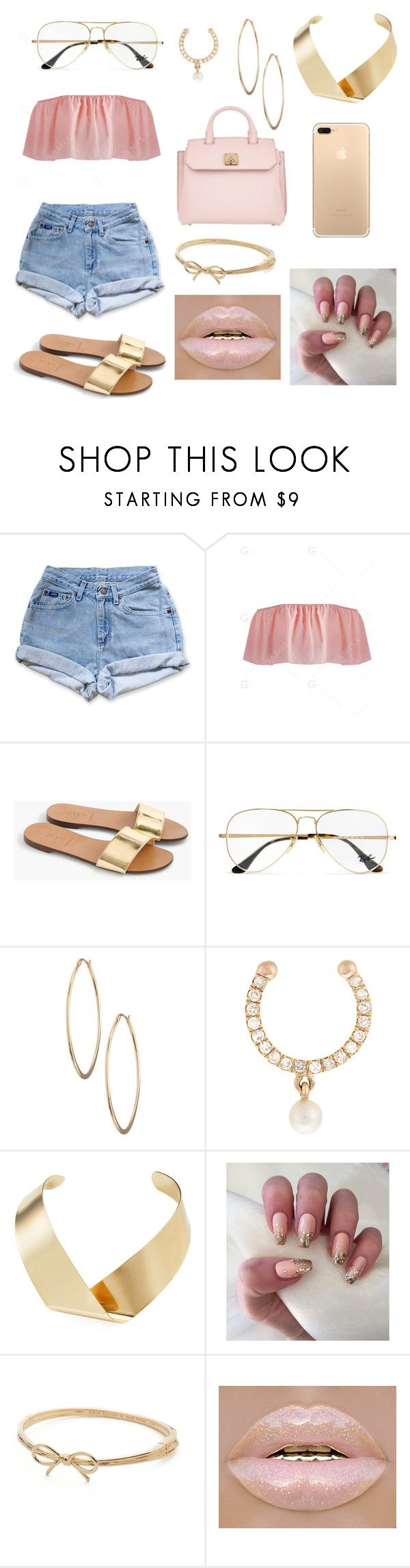 """do yall like it"" by jadabr ❤ liked on Polyvore featuring Levi's, J.Crew, Ray-Ban, Lydell NYC, Anissa Kermiche, Kenneth Jay Lane, Kate Spade and MCM"