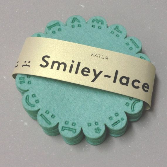 SMILEY-LACE coasters MINT by Katladesign on Etsy