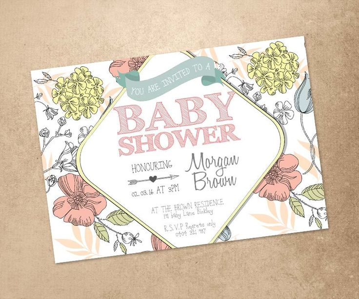 Personalised Baby Shower Invitations - Printed Baby Shower Invitations - Cute Baby Shower Invite - Personalised Baby Shower Invite by PaperCrushAus on Etsy