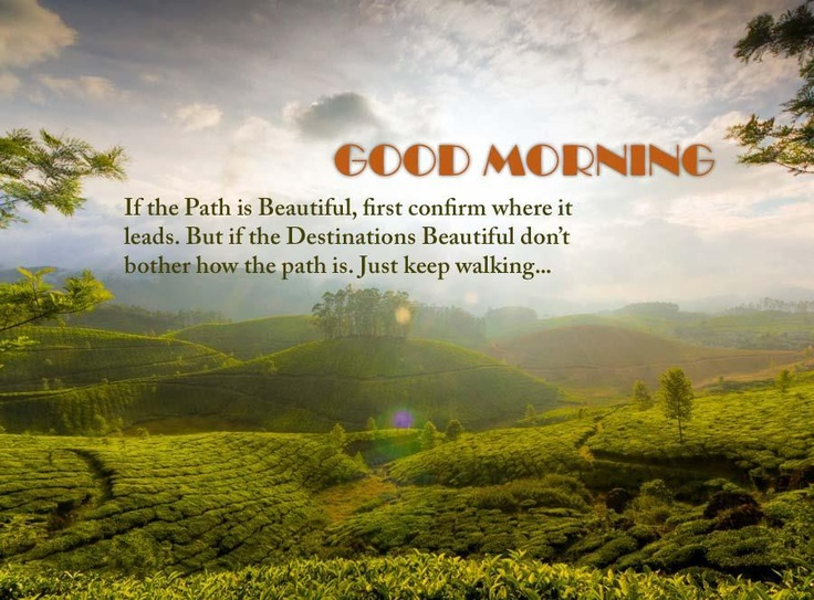 If the path is beautiful First confirm where it leads   Good morning