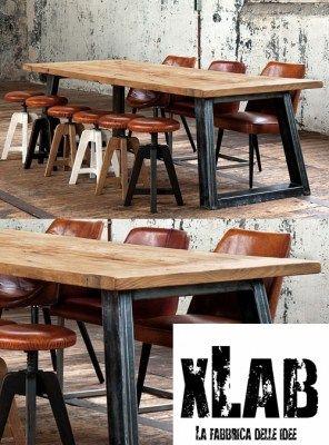 Tavolo da pranzo in legno stile industrial design made in Italy 180x85x75