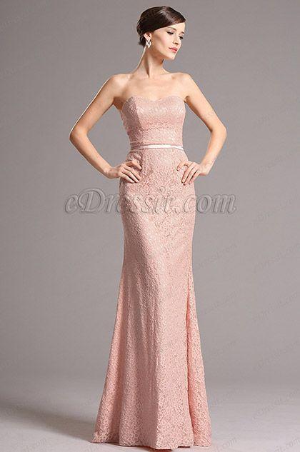 Blush color, Strapless, Lace party dress, simple evening dress, bridesmade dress