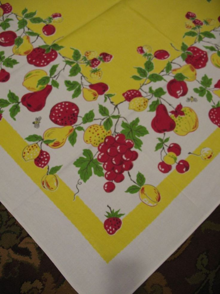 Beautiful Vintage Tablecloth Bright Yellow Filled With